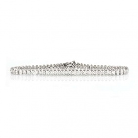 18k White Gold Round Brilliant Cut Diamond Set Line Bracelet 3.60ct